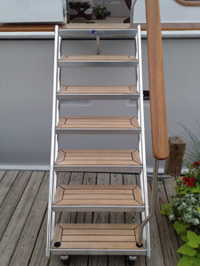Front view of yacht boarding stairs attached to a yacht
